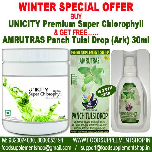 Unicity Premium Super Chlorophyll & AMRUTRAS Panch Tulsi Drop(Ark) 30ml